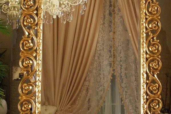 """Зеркало в раме """"Бергамо"""" 20C.Gold/8 LouvreHome купить в салоне-студии мебели Барселона mnogospalen.ru много спален мебель Италии классические современные"""