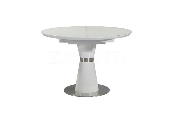 Стол обеденный раскладной ROUND (1100-1400х1100х760) (белый сатин) купить в салоне-студии мебели Барселона mnogospalen.ru много спален мебель Италии классические современные